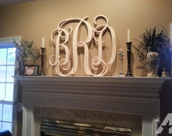 Wooden Monogram   Unpainted Wood Monogram   Wood Letters   Vine Script  Monogram   Nursery Decor