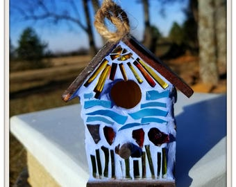 Gift for Mom Birdhouse ornament. Garden mosaic ornament. Adorable stained glass mosaic ornament for the bird lover in your life.