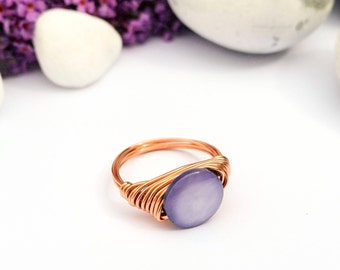 Purple stone ring, Mother of pearl ring, Copper ring, Wire wrapped ring, Purple ring, Gemstone ring, Copper wire ring, Stone ring, Gift