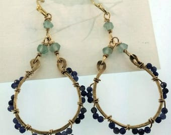 Lapis and apatite 14kt gold filled earrings