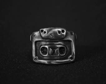 Cassette ring - vintage audio tape, music record, handmade rock and roll jewelry