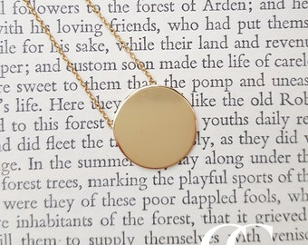 Solid Fine 9ct Yellow Gold Polished Disc Necklace ENGRAVE PERSONALISE