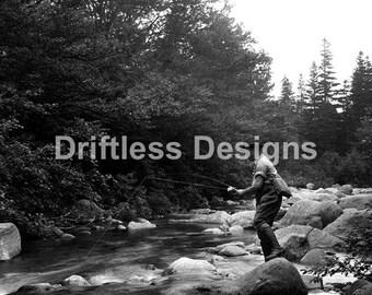 Vintage Photo Man Fly Fishing on River Rocks