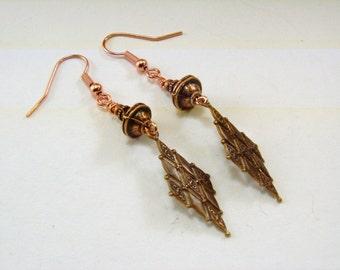 Antique Copper Earrings, Chevron Dangles, Copper bead earrings