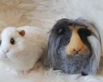 Needle Felted Guinea Pig, Custom Made Guinea Pig, Needle Felted Pet Sculpture, Handmade Animal - Custom Made Pet Portrait