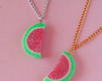 Watermelon Gummy Necklace, Sour Candy Necklace, Watermelon Candy Pendant, Miniature Food Jewelry