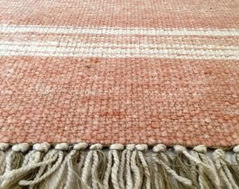 vintage woven wool rug 80's dusty rose