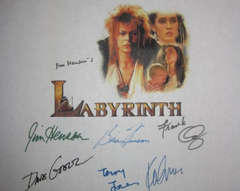 Labyrinth Signed Movie Screenplay Script Autograph x11 David Bowie Jennifer Connelly Brian Jim Hensen Frank Oz Dave Goelz Kevin Clash Beatty