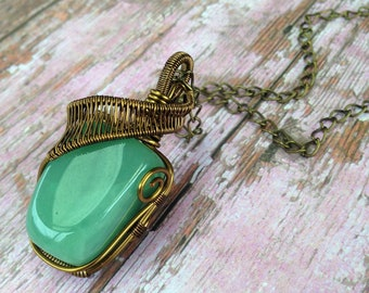 Green Aventurine Wire-Wrapped Pendant | Necklace | Gemstone | Crystal