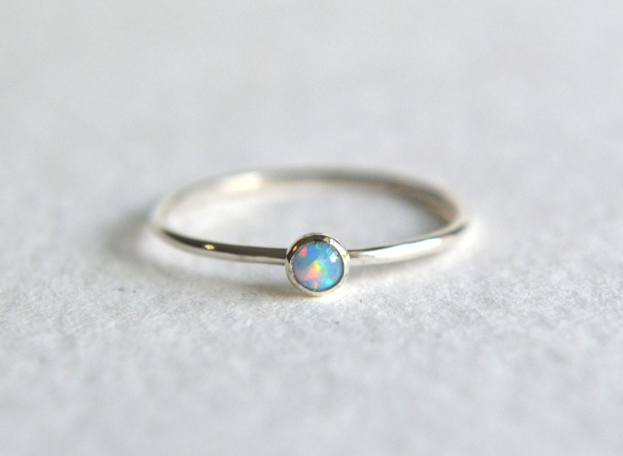 Sterling Silver Blue Opal Ring Silver Opal Ring Opal Ring