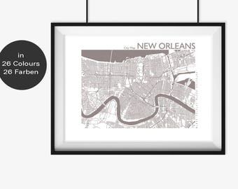 NEW ORLEANS Map, New Orleans Travel Gift, New Orleans Street Map, New Orleans Print, New Orleans Wall Art, Custom Map, Home Office Decor
