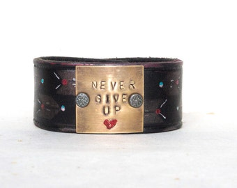 Never Give UP with this  leather cuff bracelet