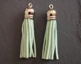 Set of 2 6 cm, silver Bell, aqua color suede tassels