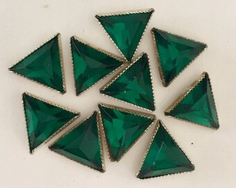 Vintage Triangle  Rose Montees - RARE - Green in Silver Setting