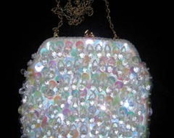 CRYSTAL BEADED WHITE Satin Evening or Bridal Small Bag with Gold Chain