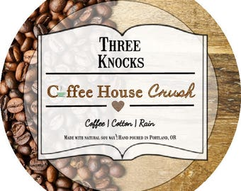 Coffee House Crush - Three Knocks Candles - Scented Soy Candle - 4 oz Tin