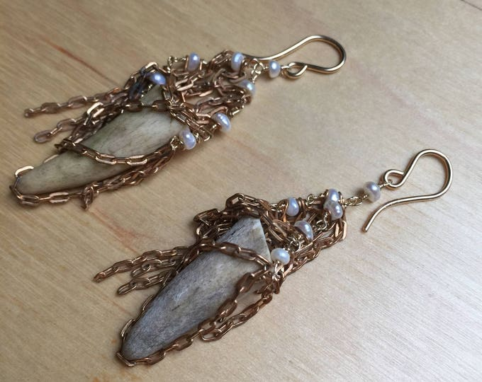 Insouciant Studios Dearborn Earrings Antler and Pearl