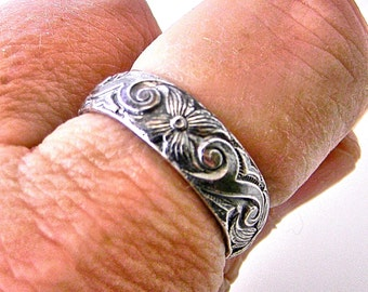 Sterling Silver Pattern Wire 4-petals 5mm Wedding Band Promise Ring Shiny Silver Finish