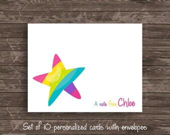Unicorn Rainbow Star Personalized Note Card Set Stationery