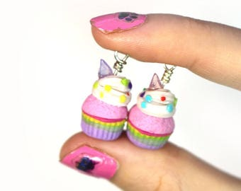 Unicorn Rainbow Cupcake Charm, Miniature Food Jewelry, Polymer Clay Food Jewelry