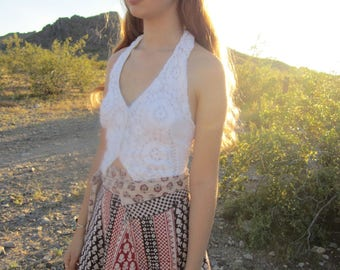 Vintage Crochet and India Gauze Halter Top