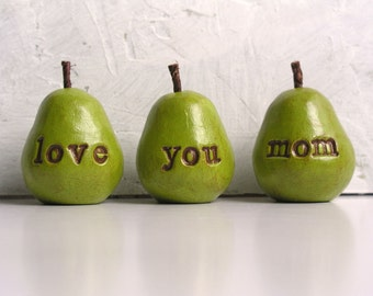 Gifts for mom / Mother's Day gift for her / 3 love you mom pears / gift for women / pears gift / gifts for mothers