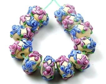 "12 Lampwork Handmade Glass Beads ""Primrose Flower"" I  (L634)"