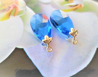 Pair of blue Sapphire drops, Support leaf silver maple, for pendants dangle earrings