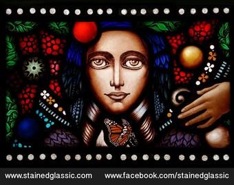 Stained Glass window, 'Wings of desire' Panel, Leaded, Portrait, 420x300mm (16.5x12inch)