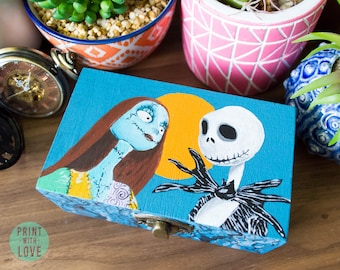 Nightmare Before Christmas Jack Skellington and Sally Proposal Wedding Ring Box Hand Painted Goth Halloween Jewelry FREE Shipping