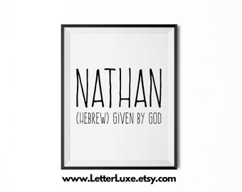 Nathan Printable Kids Gift - Name Meaning Art - Baby Shower Gift - Nursery Art - Digital Print - Nursery Decor - Typography Wall Decor