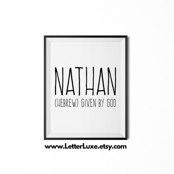 Nathan printable kids gift name meaning art baby shower nathan printable kids gift name meaning art baby shower gift nursery art digital print nursery decor typography wall decor negle Images