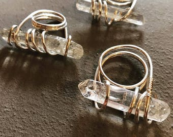 Quartz crystal bling rings