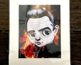 "Johnny Cash, The Man in Black 11x14"" Art Print by deShan"