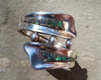 SAVE 100 DOLLARS:Taxco Silver Bracelet,Taxco Bracelet,Vintage Villasana,Taxco Jewelry,Taxco Abalone Jewelry,Abalone Cuff,Vintage Silver Cuff