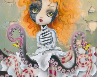 Melancholy Of Charlotte LIMITED EDITION print signed numbered Simona Candini lowbrow pop surreal big eyes octopus doll fantasy girl