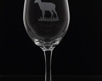 Antelope Stemmed Wine Glasses - Etched Antelope Stemmed Wine Glass - Etched Wine Glasses - Wine Glasses - Etched Glasses - One Glass