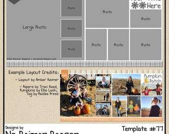 12x12 Digital Scrapbooking Template (2 Page Scrapbook Layout) #77