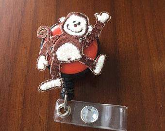 pediatric badge reel, monkey badge holder, Nurse badge reel, nurse badge holder, gift for nurse, retractable id badge reel, id badge holder