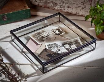 Glass Box Glass Jewelry Box Glass Display Box Glass Decorative Box Memory Box Keepsake Box Wedding Keepsake Box Glass Display Case  Box 749