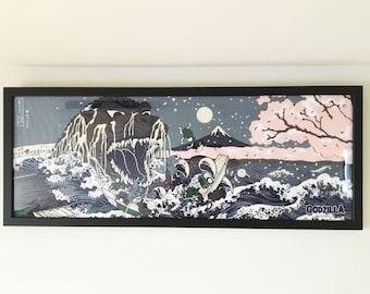 Godzilla tenugui fabric frame, black wood horizontal vertical framed tenugui, picture frame art, tenugui hanger, Wall Art Frames Hangings