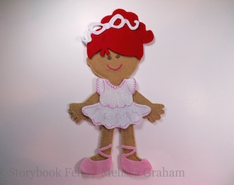 SHOP CLOSING SALE - Felt Doll Outfit Ballerina Doll Dress Up Set Without Doll Paper Doll Felt Doll Non Paper Doll