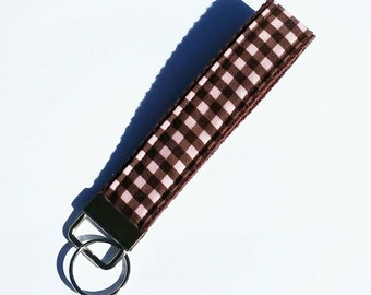 FREE SHIPPING UPGRADE with minimum -  Key Lanyard Wristlet - Key Fob - Fabric Key Ring -- Pink and brown plaid