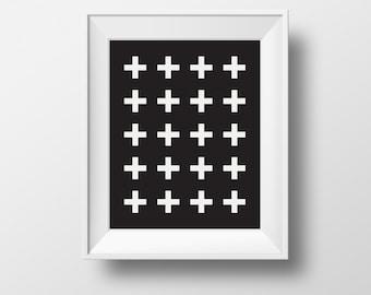 white cross , black and white wall print, scandinavian art, digital print