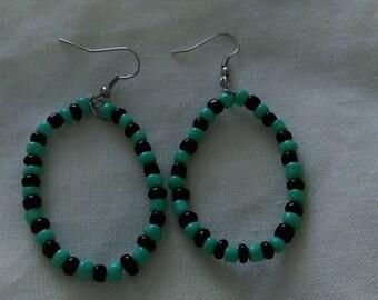 Black & Turquoise Glass Bead Earrings