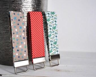 Fabric Keychain Fob - Bridesmaid Gift , Red Keychain, Cactus Keychain, Stars, Stocking Stuffers, Fun Gift