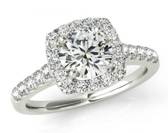 2 Carat Forever One Moissanite & Diamond Cushion Halo Engaegment Ring 14k, 18k or Platinum, Vintage Style Wedding Ring, 8mm Moissanite Ring