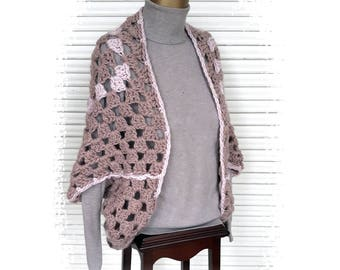 shoulder piece granny square, XXL, Ready to Ship, wool, handmade, shrug, winther, shawl