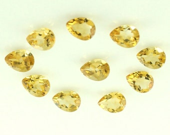 Amazing 25 Pcs Real YELLOW CITRINE Faceted Pear Gemstone 6 X 9 MM Citrine Pear Gemstone Natural Yellow Citrine Faceted Pear Loose Gems