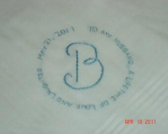 Wedding handkerchief/groom handkerchief/message in a circle/monogram/wedding colors welcome/love note to groom/